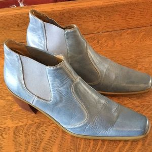 Bass Shoes - Bass Blue Leather Ankle Boots EUC 9 1/2